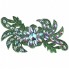 Motif Glitter Leaves with stones 28x13cm Emerald Crystal Aurora Borealis